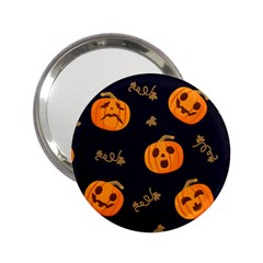 Funny Scary Black Orange Halloween Pumpkins Pattern 2 25  Handbag Mirrors