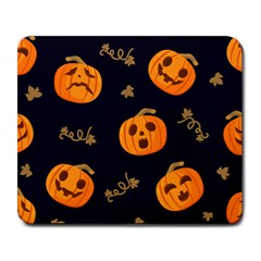 Funny Scary Black Orange Halloween Pumpkins Pattern Large Mousepads