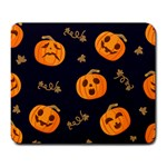 Funny Scary Black Orange Halloween Pumpkins Pattern Large Mousepads Front