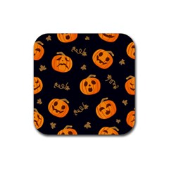 Funny Scary Black Orange Halloween Pumpkins Pattern Rubber Square Coaster (4 Pack)