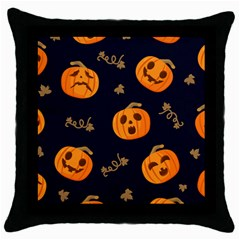 Funny Scary Black Orange Halloween Pumpkins Pattern Throw Pillow Case (black)