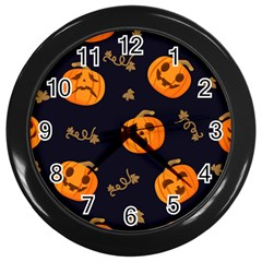 Funny Scary Black Orange Halloween Pumpkins Pattern Wall Clock (black)