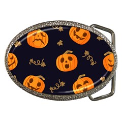 Funny Scary Black Orange Halloween Pumpkins Pattern Belt Buckles
