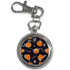 Funny Scary Black Orange Halloween Pumpkins Pattern Key Chain Watches
