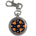 Funny Scary Black Orange Halloween Pumpkins Pattern Key Chain Watches Front