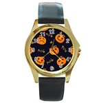 Funny Scary Black Orange Halloween Pumpkins Pattern Round Gold Metal Watch Front