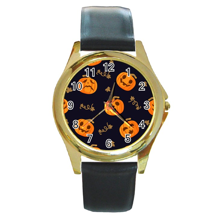 Funny Scary Black Orange Halloween Pumpkins Pattern Round Gold Metal Watch