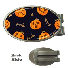 Funny Scary Black Orange Halloween Pumpkins Pattern Money Clips (oval)