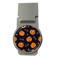 Funny Scary Black Orange Halloween Pumpkins Pattern Money Clips (round)