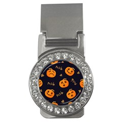 Funny Scary Black Orange Halloween Pumpkins Pattern Money Clips (cz)  by HalloweenParty