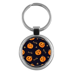 Funny Scary Black Orange Halloween Pumpkins Pattern Key Chains (round)