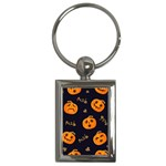 Funny Scary Black Orange Halloween Pumpkins Pattern Key Chains (Rectangle)  Front