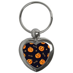 Funny Scary Black Orange Halloween Pumpkins Pattern Key Chains (heart)