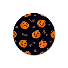 Funny Scary Black Orange Halloween Pumpkins Pattern Rubber Coaster (round)