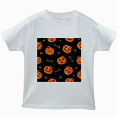 Funny Scary Black Orange Halloween Pumpkins Pattern Kids White T Shirts