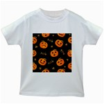 Funny Scary Black Orange Halloween Pumpkins Pattern Kids White T-Shirts Front
