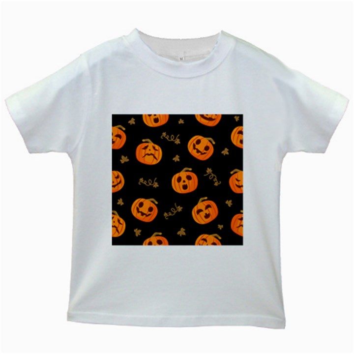 Funny Scary Black Orange Halloween Pumpkins Pattern Kids White T-Shirts