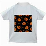 Funny Scary Black Orange Halloween Pumpkins Pattern Kids White T-Shirts Back