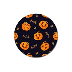 Funny Scary Black Orange Halloween Pumpkins Pattern Magnet 3  (round)