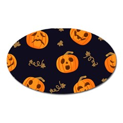 Funny Scary Black Orange Halloween Pumpkins Pattern Oval Magnet