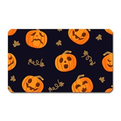 Funny Scary Black Orange Halloween Pumpkins Pattern Magnet (rectangular)