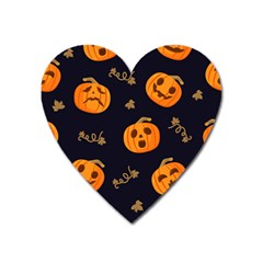 Funny Scary Black Orange Halloween Pumpkins Pattern Heart Magnet