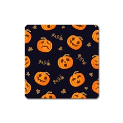 Funny Scary Black Orange Halloween Pumpkins Pattern Square Magnet