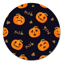 Funny Scary Black Orange Halloween Pumpkins Pattern Magnet 5  (round)