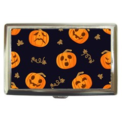Funny Scary Black Orange Halloween Pumpkins Pattern Cigarette Money Case