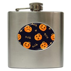 Funny Scary Black Orange Halloween Pumpkins Pattern Hip Flask (6 Oz)