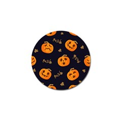 Funny Scary Black Orange Halloween Pumpkins Pattern Golf Ball Marker (4 Pack)