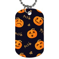 Funny Scary Black Orange Halloween Pumpkins Pattern Dog Tag (two Sides)