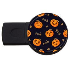 Funny Scary Black Orange Halloween Pumpkins Pattern Usb Flash Drive Round (2 Gb)