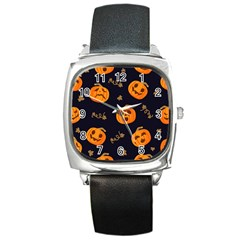 Funny Scary Black Orange Halloween Pumpkins Pattern Square Metal Watch