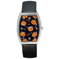 Funny Scary Black Orange Halloween Pumpkins Pattern Barrel Style Metal Watch