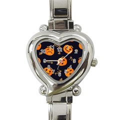 Funny Scary Black Orange Halloween Pumpkins Pattern Heart Italian Charm Watch