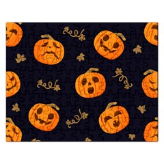 Funny Scary Black Orange Halloween Pumpkins Pattern Rectangular Jigsaw Puzzl