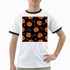 Funny Scary Black Orange Halloween Pumpkins Pattern Ringer T
