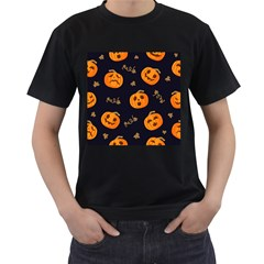 Funny Scary Black Orange Halloween Pumpkins Pattern Men s T Shirt (black) (two Sided)
