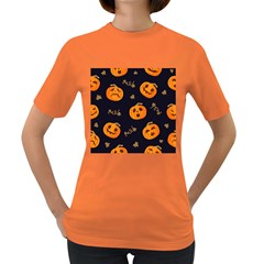 Funny Scary Black Orange Halloween Pumpkins Pattern Women s Dark T Shirt