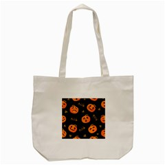 Funny Scary Black Orange Halloween Pumpkins Pattern Tote Bag (cream)