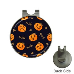 Funny Scary Black Orange Halloween Pumpkins Pattern Hat Clips With Golf Markers