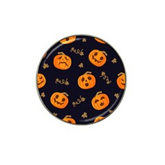 Funny Scary Black Orange Halloween Pumpkins Pattern Hat Clip Ball Marker (4 Pack)