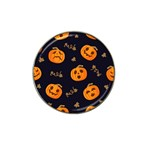Funny Scary Black Orange Halloween Pumpkins Pattern Hat Clip Ball Marker (4 pack) Front