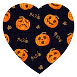 Funny Scary Black Orange Halloween Pumpkins Pattern Jigsaw Puzzle (Heart) Front
