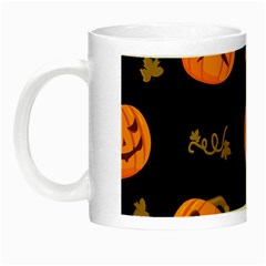 Funny Scary Black Orange Halloween Pumpkins Pattern Night Luminous Mugs by HalloweenParty
