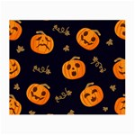 Funny Scary Black Orange Halloween Pumpkins Pattern Small Glasses Cloth Front