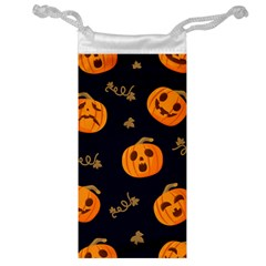 Funny Scary Black Orange Halloween Pumpkins Pattern Jewelry Bag