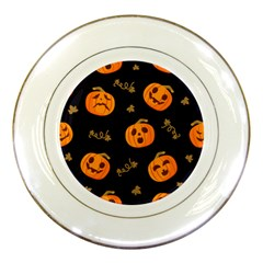 Funny Scary Black Orange Halloween Pumpkins Pattern Porcelain Plates by HalloweenParty