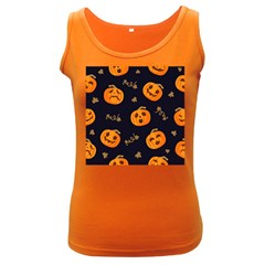 Funny Scary Black Orange Halloween Pumpkins Pattern Women s Dark Tank Top